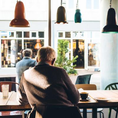 Customer at coffee shop